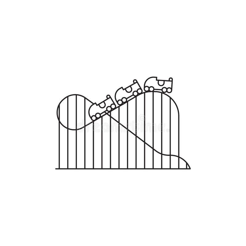 Lineares Design des Achterbahnikonen-Vektors lokalisiert auf weißem Hintergrund Parken Sie Logoschablone, Element für Vergnügungs stock abbildung
