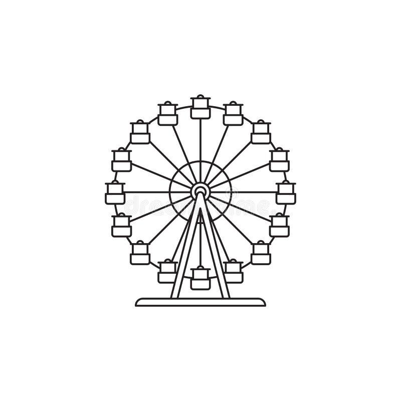 Lineares Design des Riesenrad-Ikonenvektors lokalisiert auf weißem Hintergrund Parken Sie Logoschablone, Element für Vergnügungsp lizenzfreie abbildung