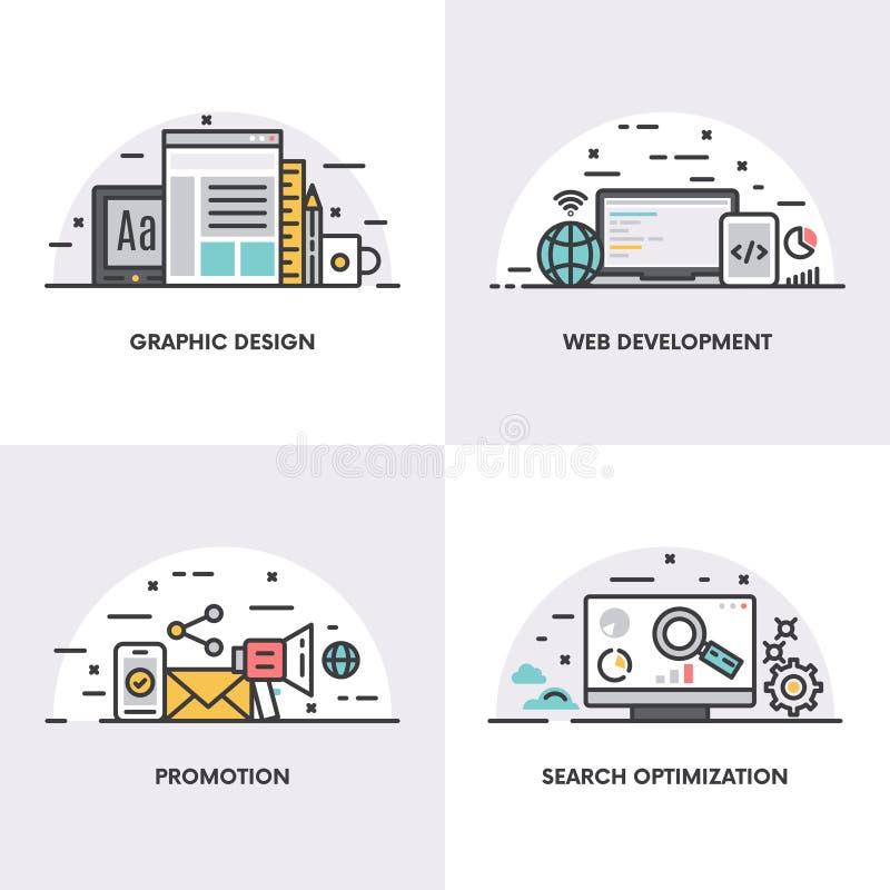 Lineares Design des Vektors Konzepte und Ikonen für Grafikdesign-, Web-Entwicklungs-, Förderungs- und Suchoptimierung vektor abbildung