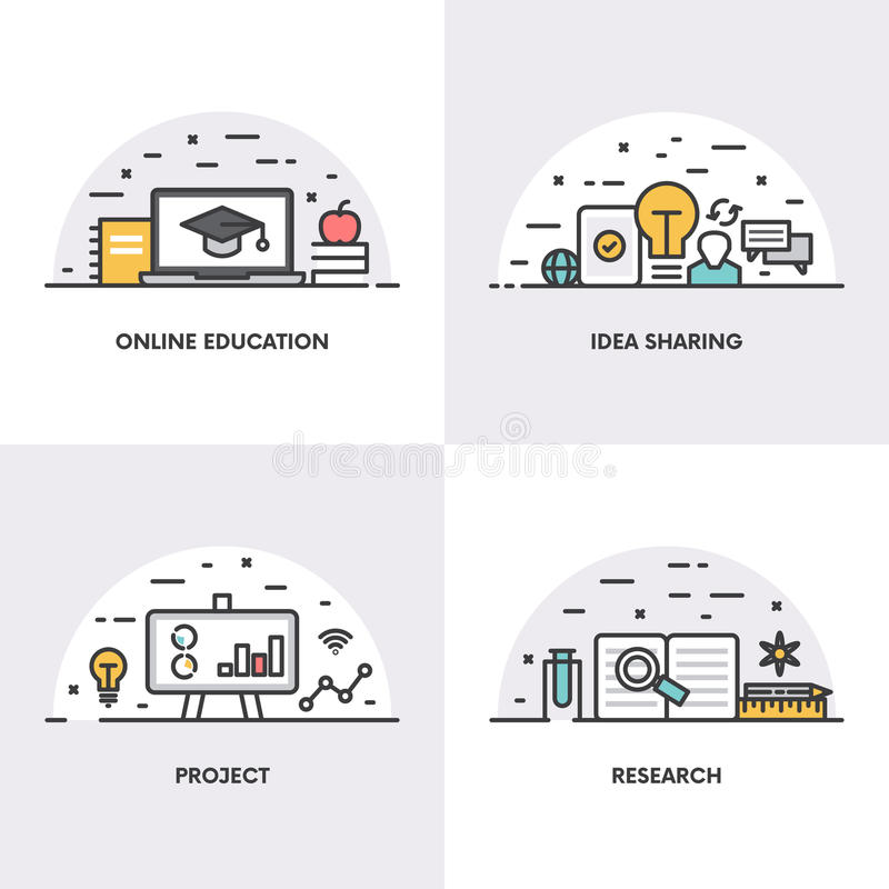 Lineares Design des Vektors Konzepte und Ikonen für on-line-Bildung, die teilende Idee, Projekt und Forschung stock abbildung