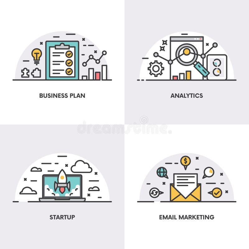 Lineares Design des Vektors Konzepte und Ikonen für Unternehmensplan, Analytik, Start und E-Mail-Marketing lizenzfreie abbildung