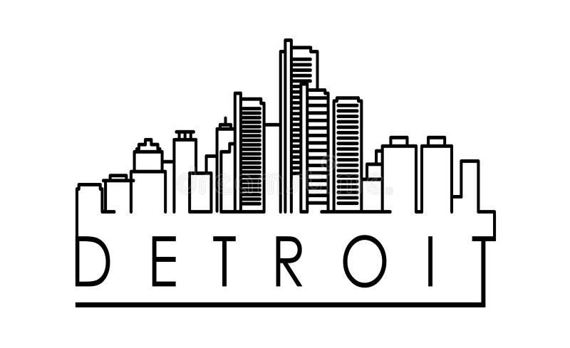 Lineares Detroit-Stadt-Schattenbild mit typografischem Design lizenzfreie abbildung