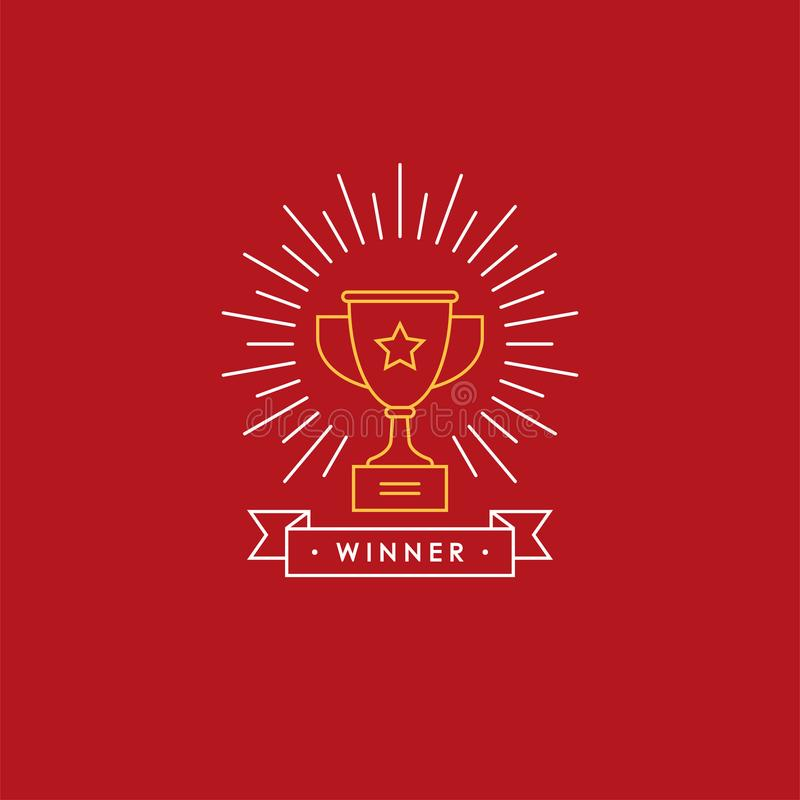 Lineares Emblem mit Siegercup lizenzfreie abbildung