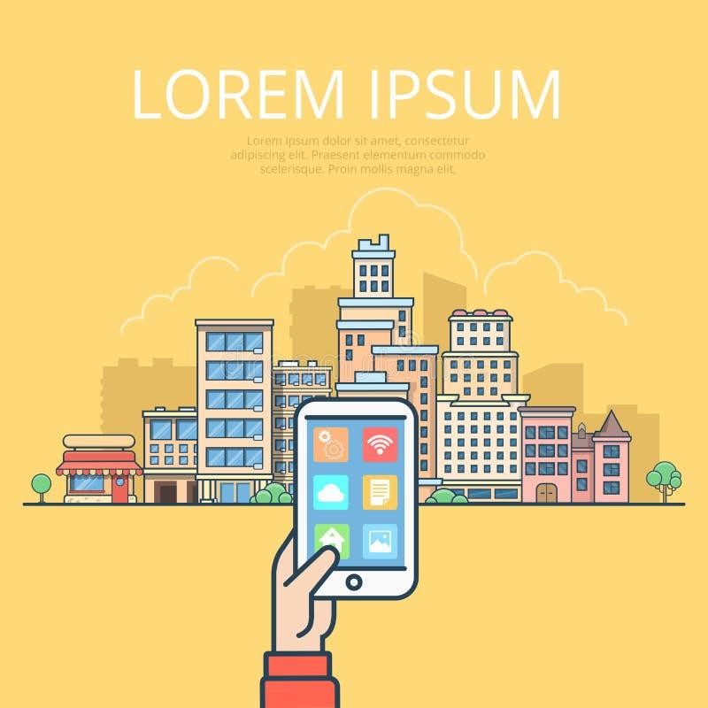 Lineares flaches Tablette Smartphone Stadtlandschaft vect vektor abbildung