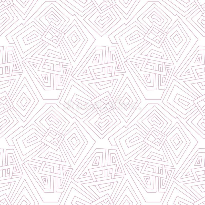 Lineares geometrisches nahtloses Muster blaß - Rosa Nahtloses Muster, Hintergrund, Beschaffenheit Kreise und Quadrate auf einem o lizenzfreie abbildung