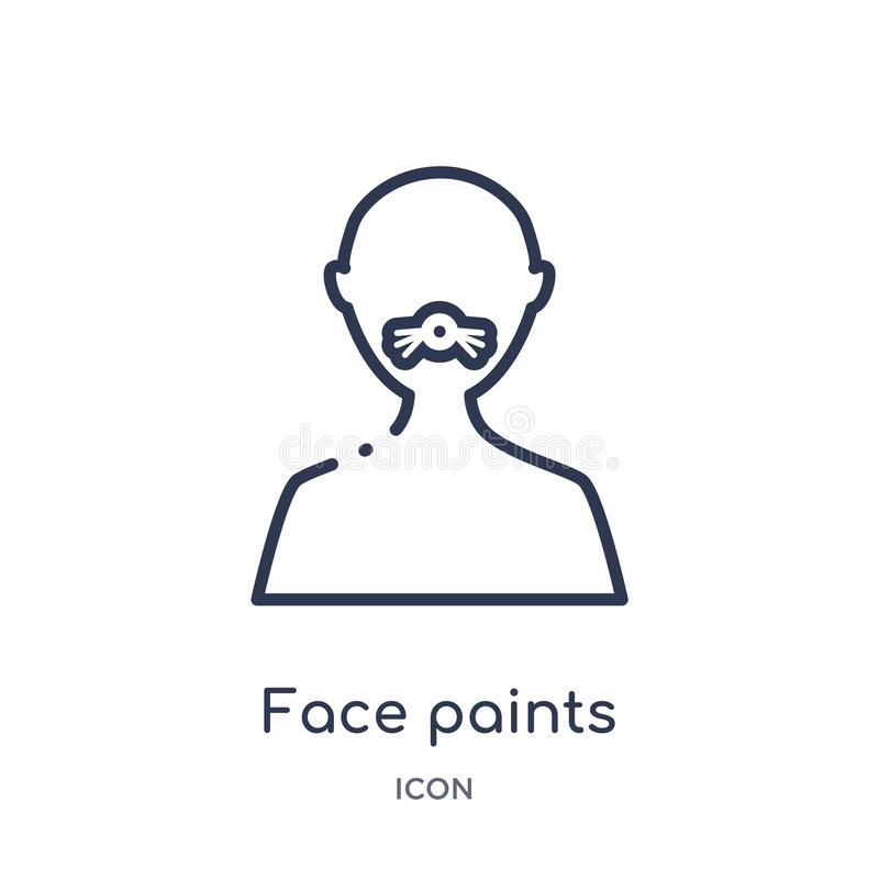 Lineares Gesicht malt Ikone von der Zirkusentwurfssammlung Dünne Linie Gesicht malt Vektor lokalisiert auf weißem Hintergrund Ges lizenzfreie abbildung