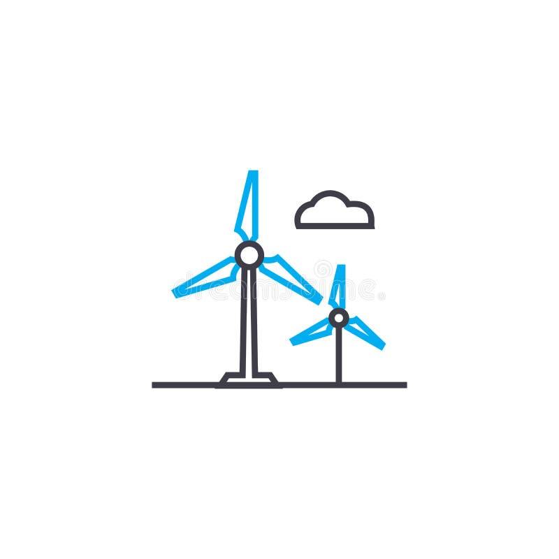 Lineares Ikonenkonzept der alternativen Energiequellen Alternative Energiequellen zeichnen Vektorzeichen, Symbol, Illustration vektor abbildung