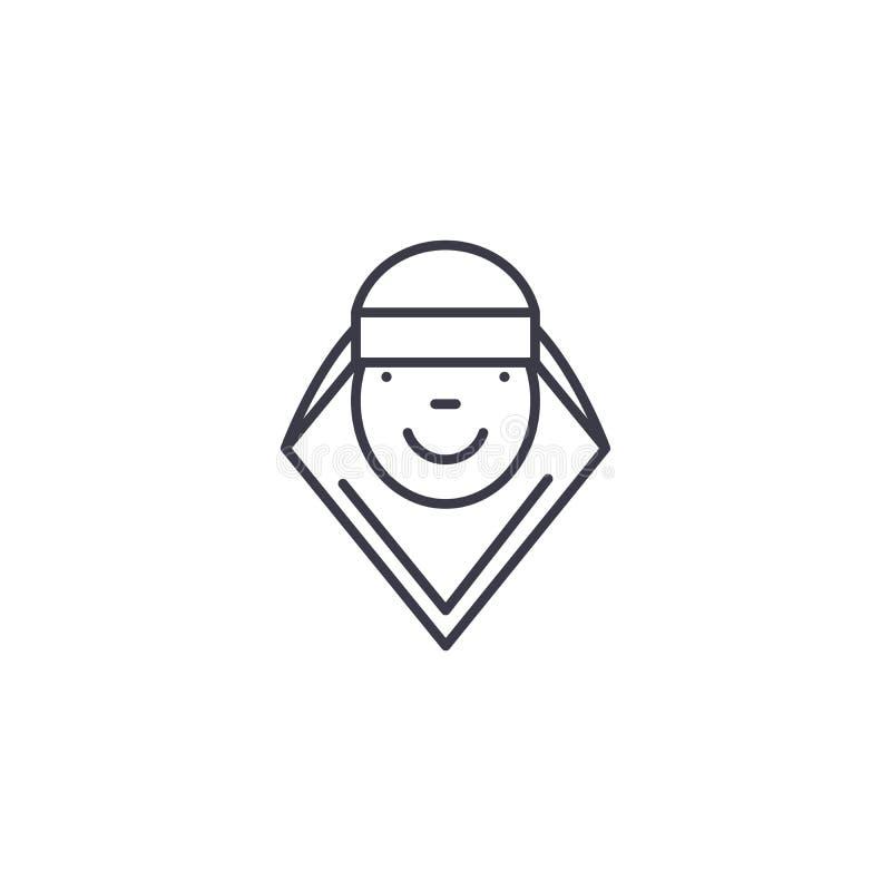 Lineares Ikonenkonzept der arabischen Frau Arabische Frauenlinie Vektorzeichen, Symbol, Illustration lizenzfreie abbildung
