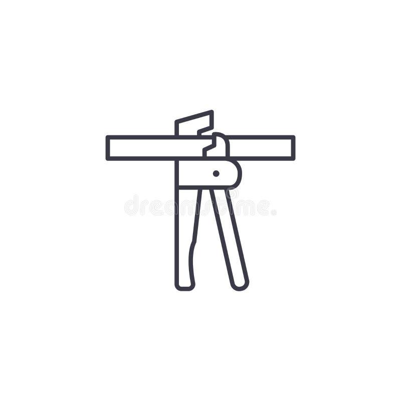 Lineares Ikonenkonzept der Ausschnittzangen Ausschnittzangen zeichnen Vektorzeichen, Symbol, Illustration lizenzfreie abbildung