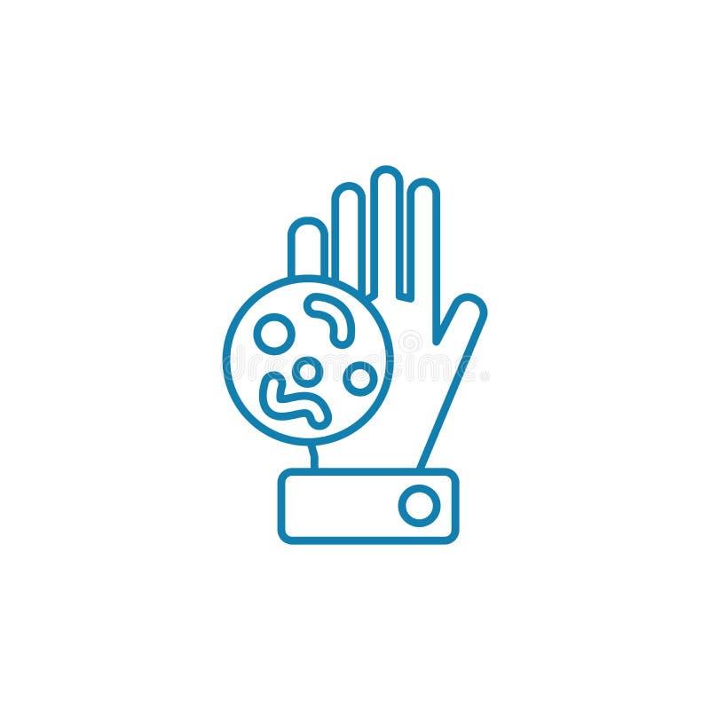 Lineares Ikonenkonzept der bakteriellen Drohung Bakterielle Drohungslinie Vektorzeichen, Symbol, Illustration stock abbildung