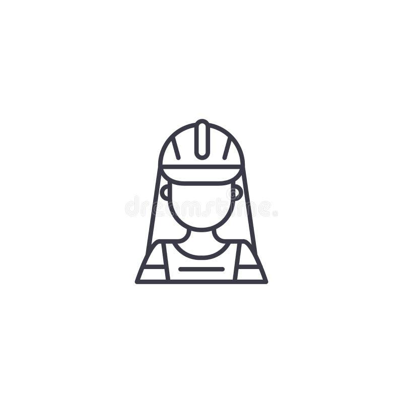 Lineares Ikonenkonzept der BauArbeitnehmerin BauArbeitnehmerinlinie Vektorzeichen, Symbol, Illustration vektor abbildung