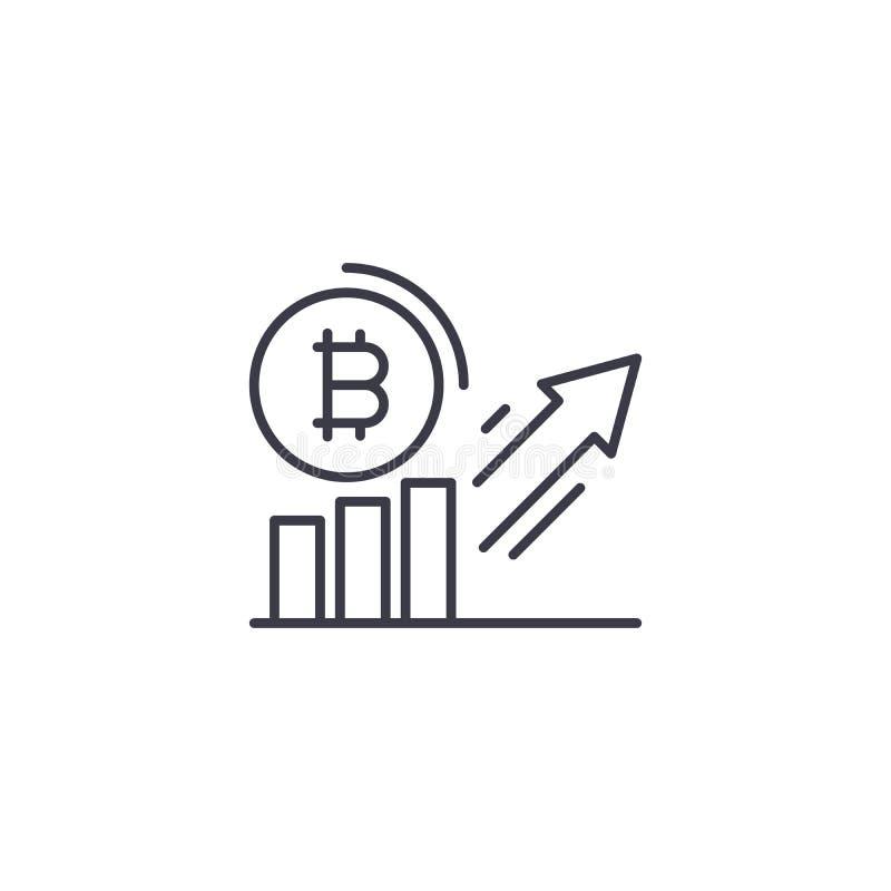 Lineares Ikonenkonzept der Bitcoin-Nachfragezunahme Bitcoin-Nachfrage-Zunahmelinie Vektorzeichen, Symbol, Illustration stock abbildung