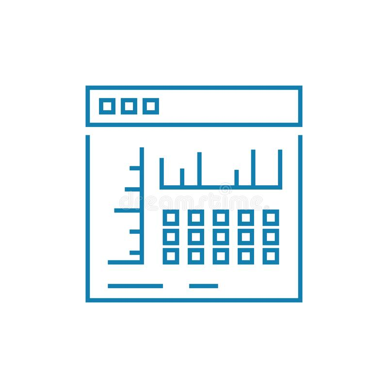 Lineares Ikonenkonzept der Browsereinstellungen Browsereinstellungen zeichnen Vektorzeichen, Symbol, Illustration lizenzfreie abbildung