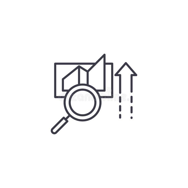 Lineares Ikonenkonzept der Datenentscheidung Datenentscheidungslinie Vektorzeichen, Symbol, Illustration lizenzfreie abbildung