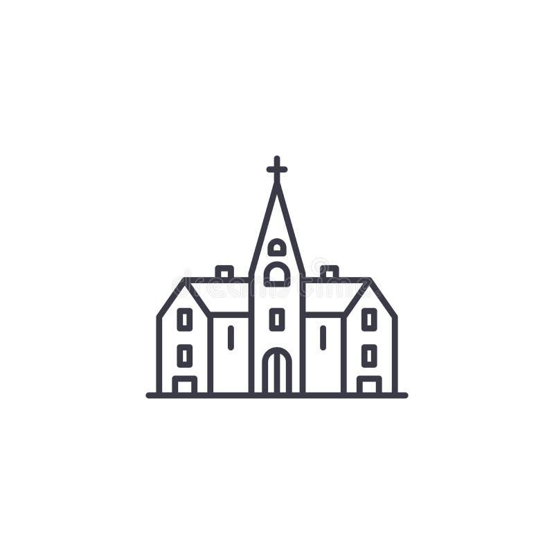 Lineares Ikonenkonzept der Kirche Kirchenlinie Vektorzeichen, Symbol, Illustration stock abbildung