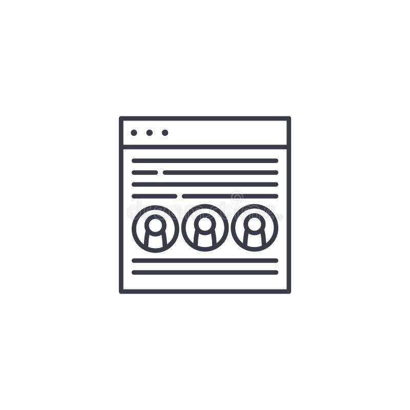 Lineares Ikonenkonzept der Landungsseite Landungsseitenlinie Vektorzeichen, Symbol, Illustration vektor abbildung