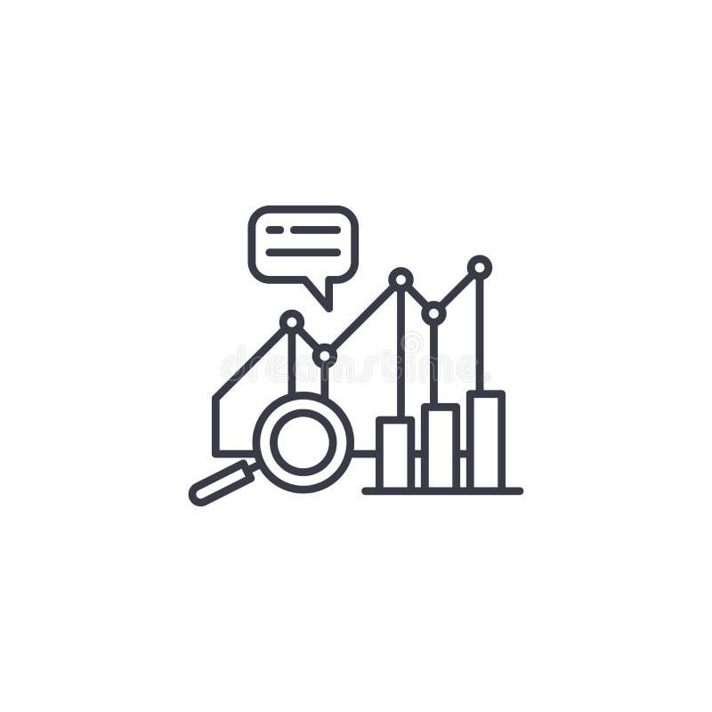 Lineares Ikonenkonzept der Leistungsanalytik Leistungsanalytik zeichnet Vektorzeichen, Symbol, Illustration vektor abbildung