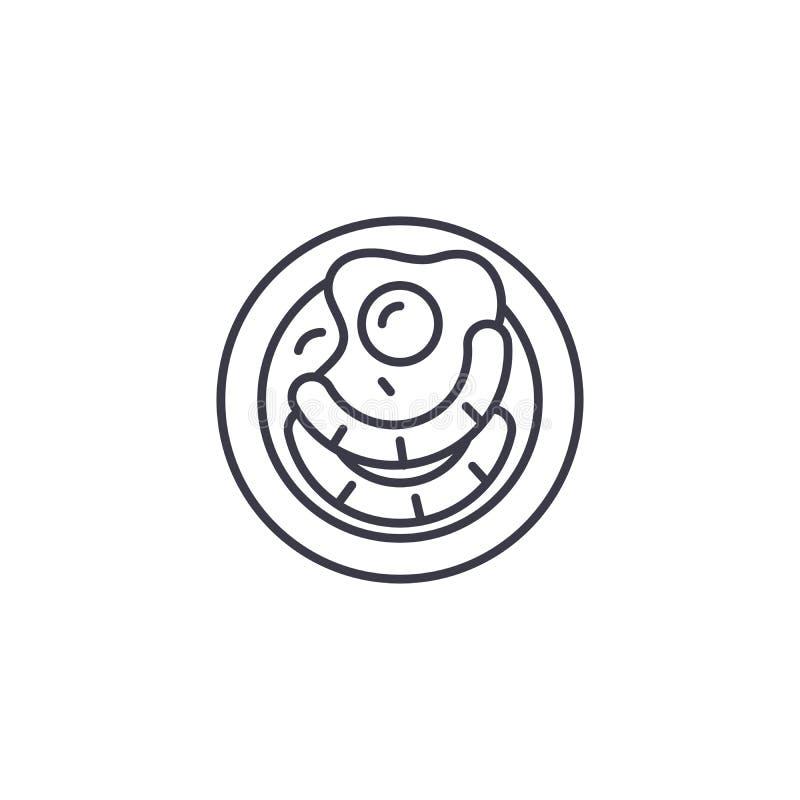Lineares Ikonenkonzept der Spiegeleiwürste Spiegeleiwürste zeichnen Vektorzeichen, Symbol, Illustration stock abbildung