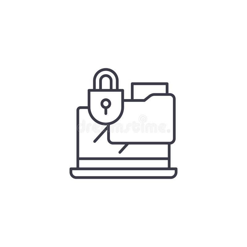 Lineares Ikonenkonzept der vertraulichen Dokumente Vertrauliche Dokumente zeichnen Vektorzeichen, Symbol, Illustration stock abbildung