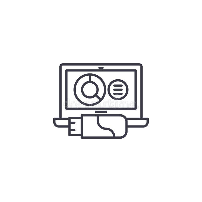 Lineares Ikonenkonzept des analytischen Datenarchivs Analytische Daten archivieren Linie Vektorzeichen, Symbol, Illustration vektor abbildung