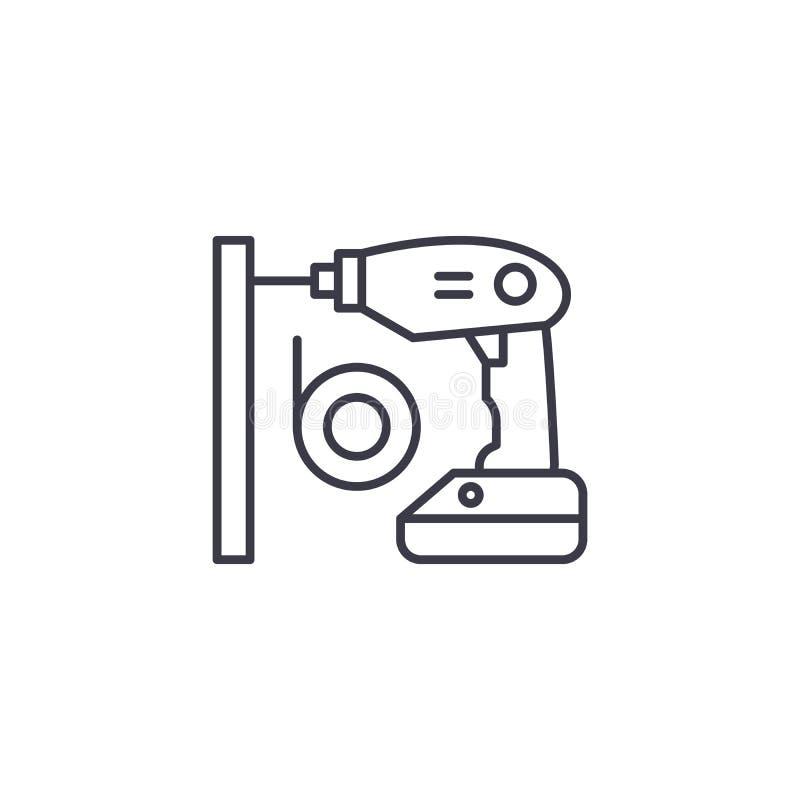 Lineares Ikonenkonzept des drahtlosen Schraubenziehers Drahtlose Schraubenzieherlinie Vektorzeichen, Symbol, Illustration stock abbildung