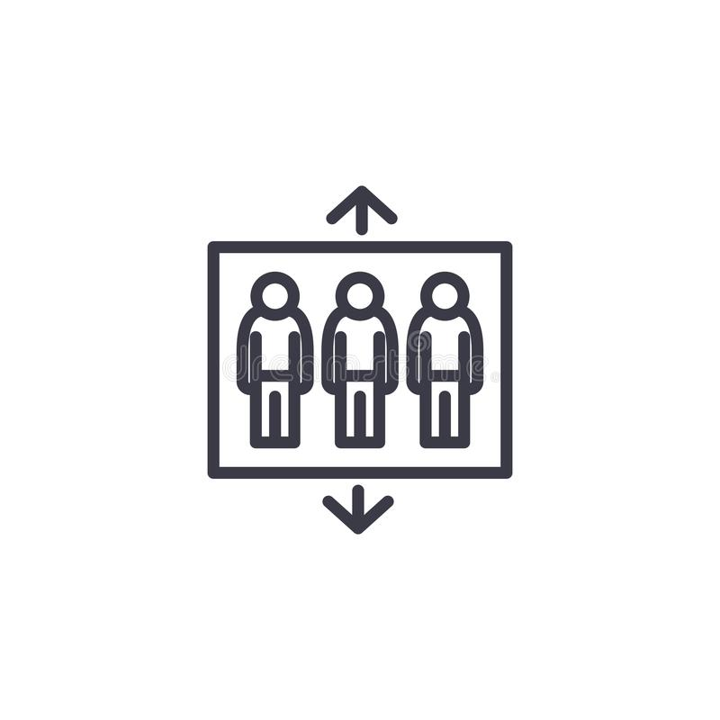 Lineares Ikonenkonzept des Empfangsgebäudeaufzugs Empfangsgebäudeaufzuglinie Vektorzeichen, Symbol, Illustration vektor abbildung