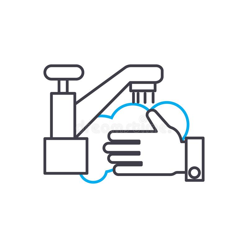 Lineares Ikonenkonzept des Hausreinigungsservices Bringen Sie Reinigungsnebengleis-Vektorzeichen, Symbol, Illustration unter stock abbildung