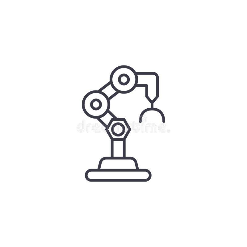 Lineares Ikonenkonzept des Industrieroboters Industrieroboterlinie Vektorzeichen, Symbol, Illustration vektor abbildung
