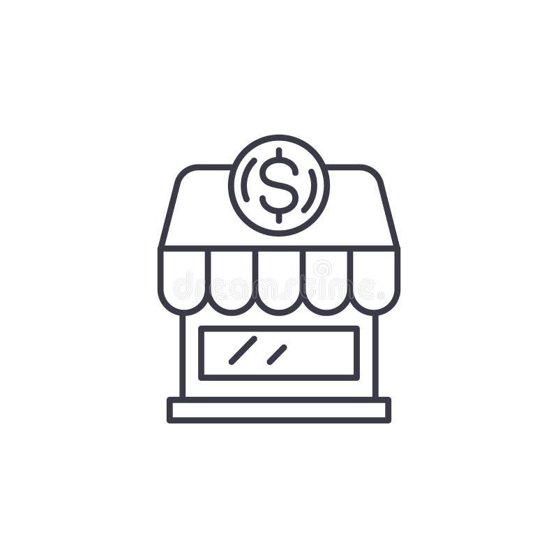 Lineares Ikonenkonzept des Kleinbetriebs Kleinbetrieblinie Vektorzeichen, Symbol, Illustration stock abbildung