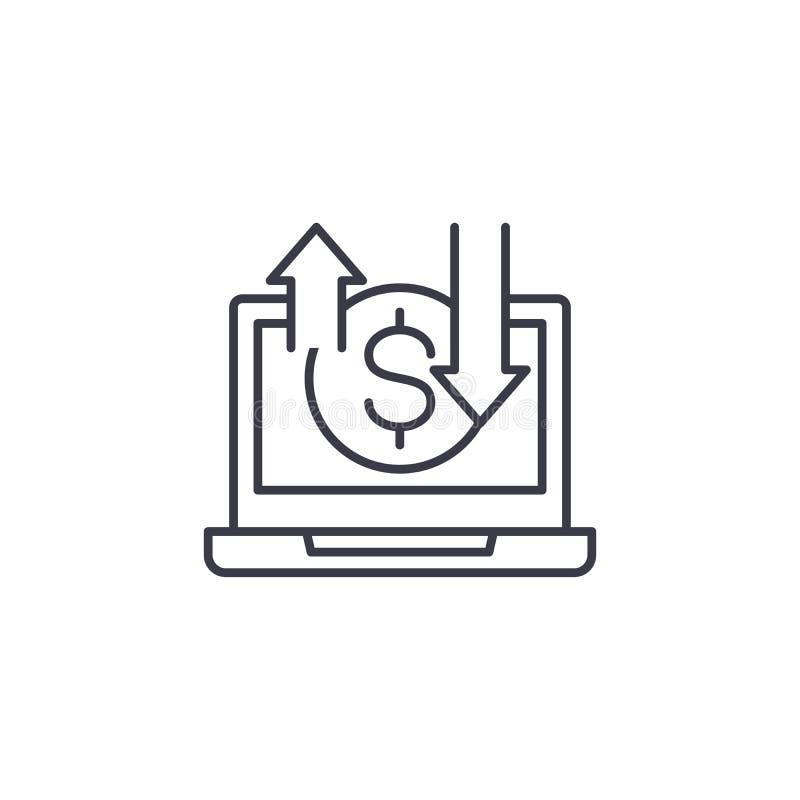 Lineares Ikonenkonzept des on-line-Geschäfts On-line-Geschäftszweig Vektorzeichen, Symbol, Illustration stock abbildung