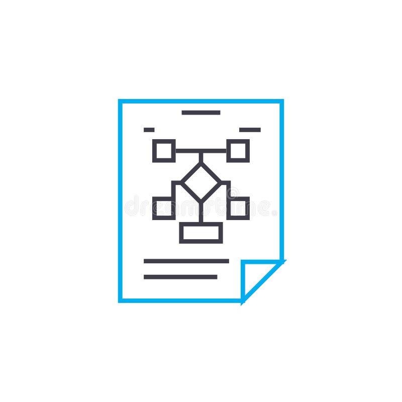 Lineares Ikonenkonzept des organisatorischen Arbeitsflussplanes Organisatorische Arbeitsflussplanlinie Vektorzeichen, Symbol, Ill lizenzfreie abbildung