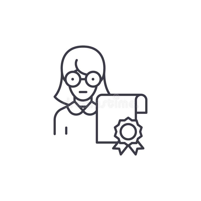 Lineares Ikonenkonzept des Spezialistenzertifikats Spezialistenzertifikatlinie Vektorzeichen, Symbol, Illustration vektor abbildung