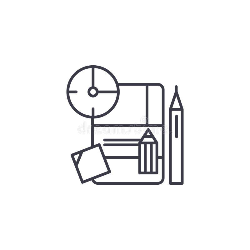 Lineares Ikonenkonzept des Umsetzungsplans Umsetzungsplanlinie Vektorzeichen, Symbol, Illustration lizenzfreie abbildung
