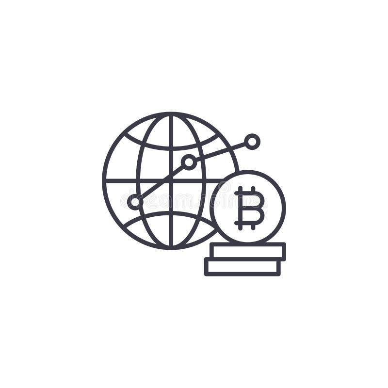 Lineares Ikonenkonzept globaler bitcoin Nachfrage Globale bitcoin Nachfragelinie Vektorzeichen, Symbol, Illustration vektor abbildung