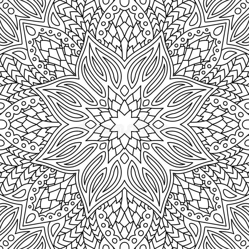 Lineares nahtloses mit Blumenmuster mit großer Blüte vektor abbildung
