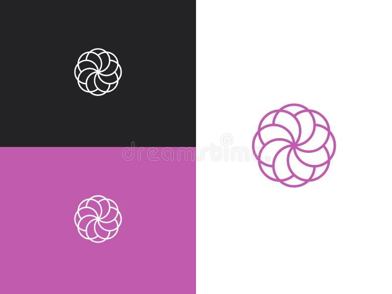 Lineares purpurrotes Blumenlogo der modernen Zusammenfassung Auch im corel abgehobenen Betrag stock abbildung