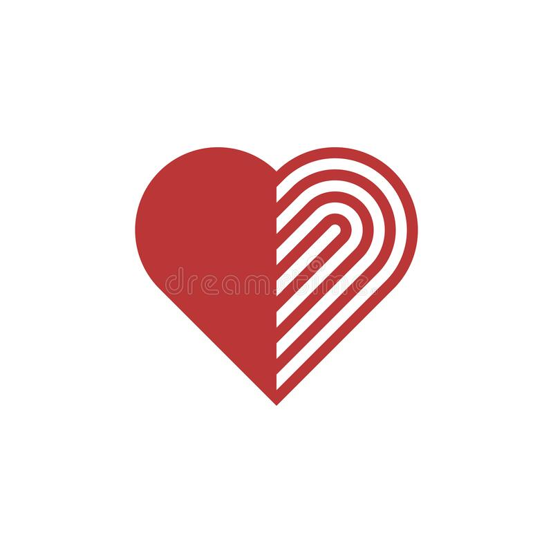 Lineares rotes Herzsymbol Vektor-Abbildung auf weißem Hintergrund EPS10 lizenzfreie abbildung