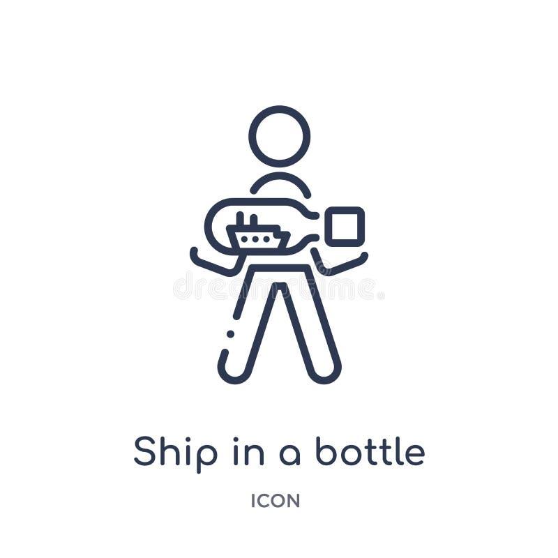 Lineares Schiff in einer Flaschenikone von der Freizeitentwurfssammlung Dünne Linie Schiff in einem Flaschenvektor lokalisiert au vektor abbildung