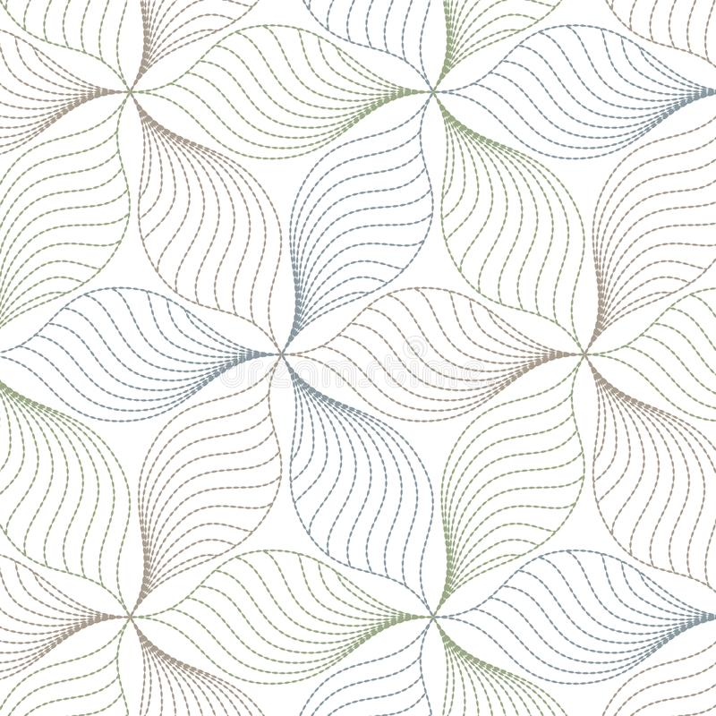 Lineares Vektormuster, abstrakte Blätter, Linie des Blattes oder Blume wiederholend, mit Blumen grafisch säubern Sie Design für G stock abbildung