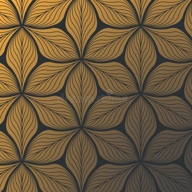 Lineares Vektormuster, abstrakte Goldblätter auf dem dunklen Hintergrund wiederholend, linear vom Blatt oder von der Blume, mit B stock abbildung