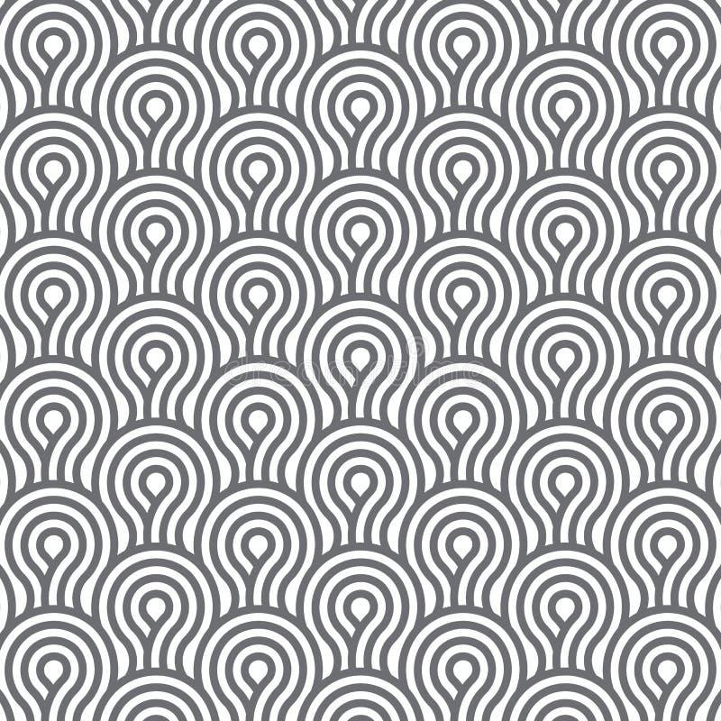 Lineares Vektormuster, das Einfassungslinien Artmuster gemacht von einem Viertel linear vom Kreis wiederholt vektor abbildung