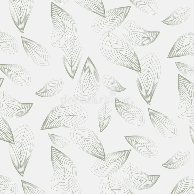 Lineares Vektormuster, die abstrakten Blätter wiederholend, linear vom Blatt oder von der Blume, mit Blumen grafisch säubern Sie  vektor abbildung