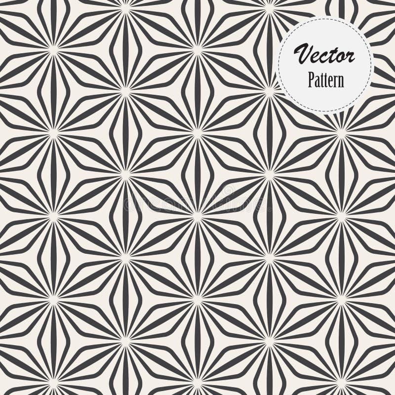 Lineares Vektormuster, Zusammenfassung wiederholend ein lineares Blatt jedes, das auf Hexagonform einkreist stock abbildung