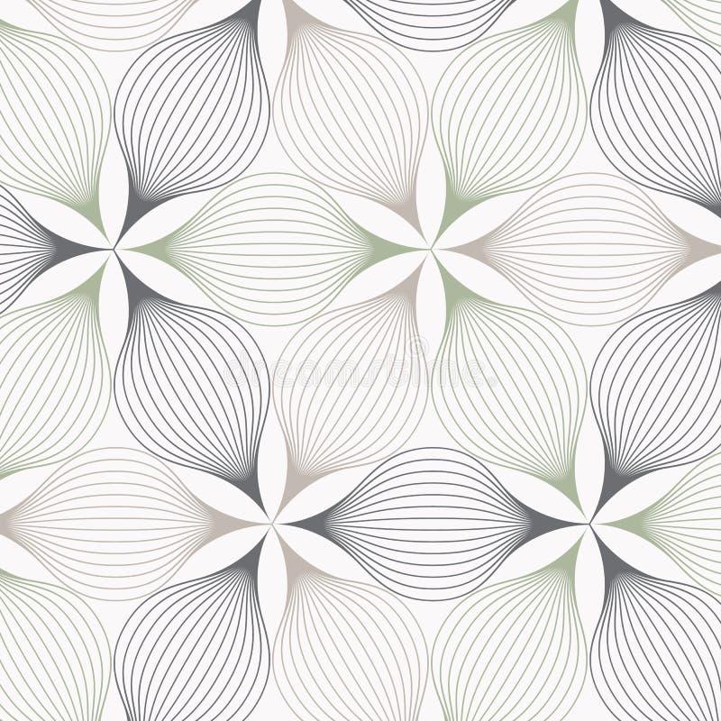 Lineares Vektormuster, Zusammenfassung wiederholend ein lineares Blatt jedes, das auf Hexagonform einkreist lizenzfreie abbildung