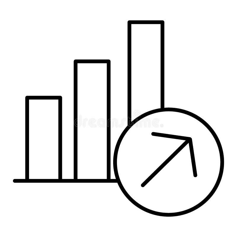 Lineares Zeichen des wachsenden Diagramms Vektorgeschäftsikone in der dünnen Linie Art Entwurfsdesign vektor abbildung