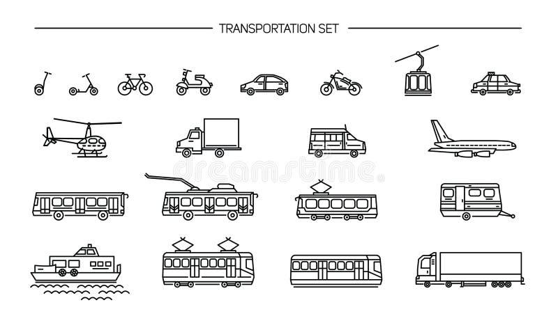 Lineart象设置了与地面运输、航空和水运输在白色背景 与自行车,公共汽车的汇集 向量例证