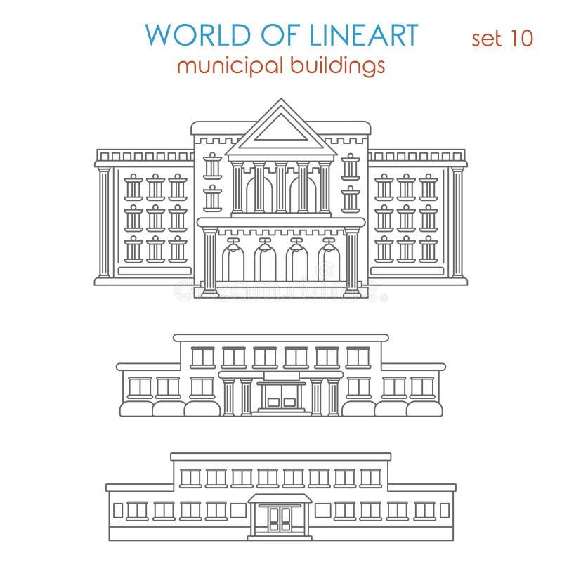 Lineart κυβερνητικό σχολείο οικοδόμησης αρχιτεκτονικής δημόσιο δημοτικό διανυσματική απεικόνιση