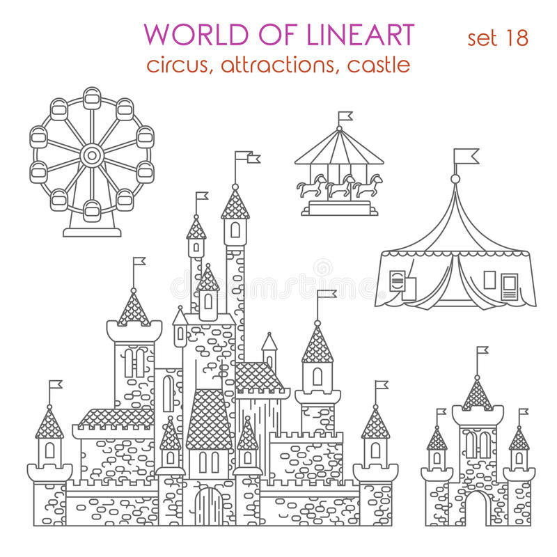 Lineart建筑学娱乐大厦:马戏吸引力 皇族释放例证