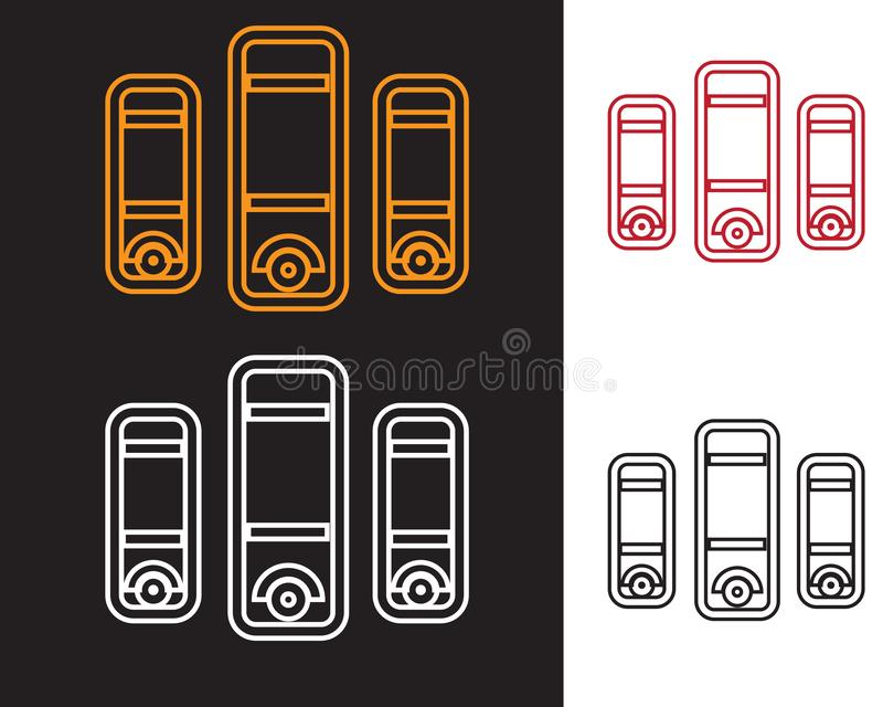 CPU flat lineart icon design with black and white backgroun vector illustration