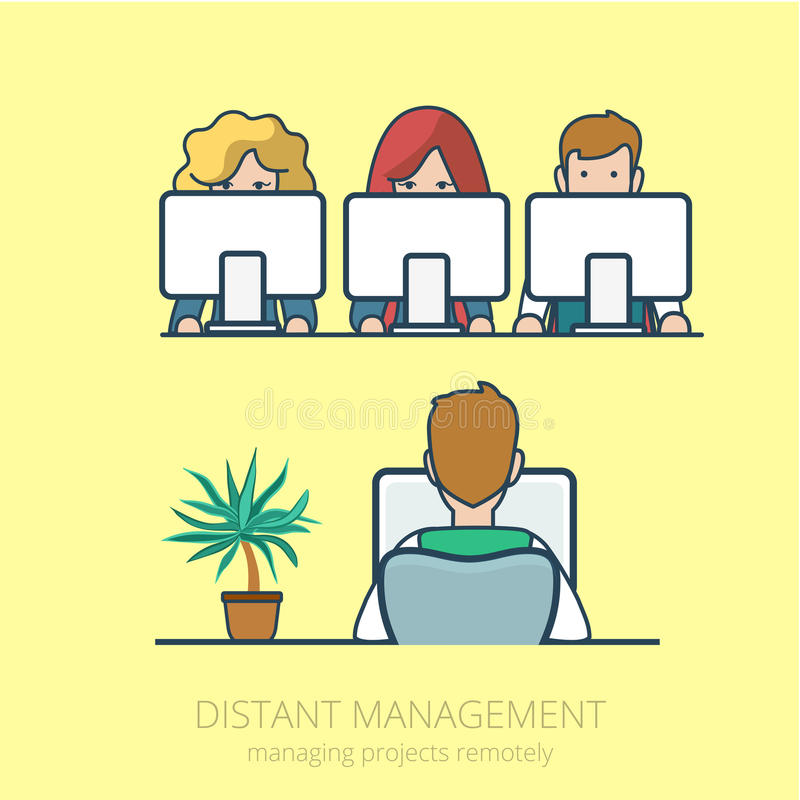 Lineart business people distant work management fl royalty free illustration
